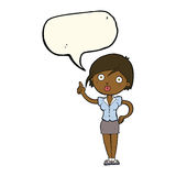 hübsche Frau der Karikatur mit Idee mit Spracheblase Lizenzfreie Stockfotos