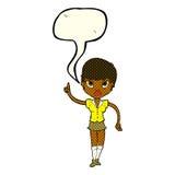 hübsche Frau der Karikatur mit Idee mit Spracheblase Lizenzfreies Stockfoto