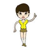 hübsche Frau der komischen Karikatur mit Idee Lizenzfreies Stockbild