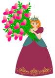 Hübsche Frau, die Herzblume hält lizenzfreie abbildung