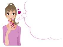 Hübsche Frau, die jemand denkt, um Valentinstaggeschenk zu geben Lizenzfreie Stockfotos