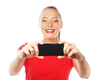 Hübsche Frau, die selfies nimmt Lizenzfreie Stockfotografie