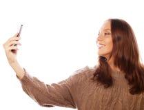 Hübsche Frau, die selfies nimmt Lizenzfreie Stockbilder