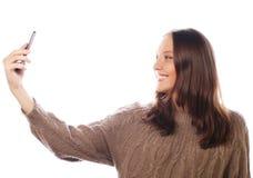 Hübsche Frau, die selfies nimmt Lizenzfreie Stockfotos