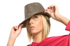 Hübsche Frau im Hut Stockfotografie