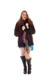 Hübsche Frau im Mantel und in den Stiefeln Stockbilder