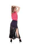 Hübsche Frau im schwarzen Rock Stockfoto