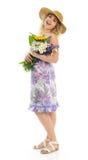 Hübsche Frau mit Blumen Lizenzfreie Stockfotos