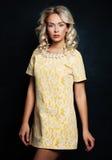 Hübsche Frau mit dem blonden Haar Stockfotos
