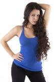 Hübsche Frau mit dem langen dunklen Haar Stockbilder