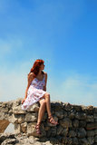 Hübsche Frau mit dem roten Haar Lizenzfreie Stockfotografie