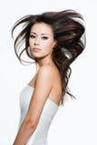 Hübsche Frau mit den langen braunen Haaren Stockfotos