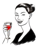 Hübsche Frau mit einem Glas Wein vektor abbildung