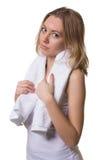 Hübsche Frau mit einem Tuch stockfotografie