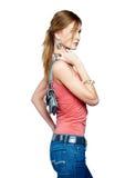 Hübsche Frau mit Handtasche Stockfoto