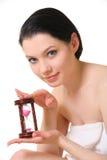 Hübsche Frau mit Hourglass stockfotos