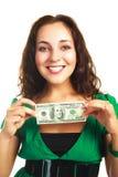 Hübsche Frau mit hundert Dollar Stockfotografie