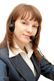 Hübsche Frau mit Mikrofon Lizenzfreies Stockbild