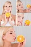 Hübsche Frau mit orange Fruchtcollage der Zitrusfrucht Stockbilder