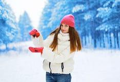 Hübsche Frau mit Schneeflocke im Winter Lizenzfreies Stockbild