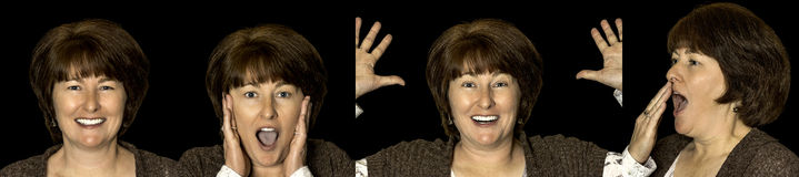 Hübsche Frau mit verschiedenen Gesichtsgefühlen lizenzfreies stockbild
