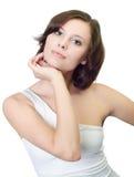 Hübsche Frau. Studio getrenntes Portrait Stockbild