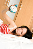 Hübsche Frau wacht auf Lizenzfreies Stockfoto