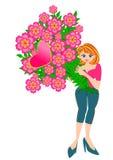 Hübsche Frauen-Holding-Blume Lizenzfreie Stockbilder