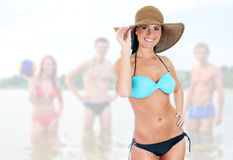Hübsche Frau im Bikini Lizenzfreies Stockfoto