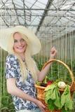 Hübsche Frauen-tragender Korb von Veggies auf ihrem Arm Stockfotos