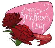 Hübsche Gartennelken mit einem Zeichen, das Muttertag, Vektor-Illustration gedenkt lizenzfreie abbildung