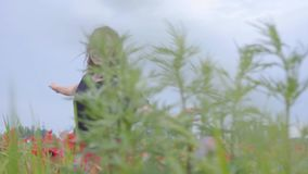 Hübsche junge Frau, die in ein Mohnblumenfeld glücklich lächelt läuft und tanzt Verbindung mit Natur Freizeit in der Natur stock video