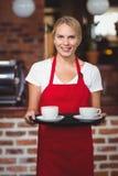 Hübsche Kellnerin, die einen Behälter mit Kaffee hält Stockbild