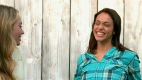 Hübsche Mädchen, die an der Kamera umarmen und lächeln stock footage