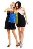 Hübsche Mädchen mit Einkaufenbeuteln Stockfotografie