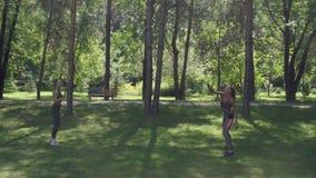 Hübsche Mädchen spielen Badminton im Park stock video