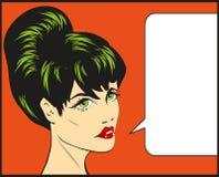 Hübsche Mädchenillustration der Retro- Pop-Arten-Comics, die weibliche Gesichtsspracheblase spricht Stockfotografie