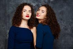 Hübsche Schwestern paart das Lächeln, Kamera über grauem Hintergrund betrachtend Stockbild