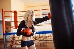 Hübsche Sportfrau mit Boxhandschuhen Stockbild