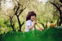 Hübsche stilvolle 3 Jahre alte Kleinkindkinderjunge mit lustigem Gesicht in den Hosenträgern Bonbons auf Picknick im Frühjahr gen Lizenzfreies Stockfoto