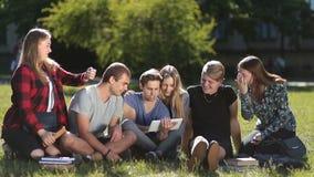 Hübsche Studenten, die mit Berührungsfläche im Park arbeiten