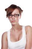 Hübsche tragende Gläser des weiblichen Kursteilnehmers Stockfoto