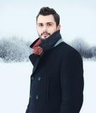 Hübscher bärtiger Mann des Modeporträts im Winter lizenzfreies stockbild