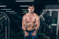 Hübscher Bodybuilder arbeitet Übung in der Turnhalle hochdrücken aus Stockfoto