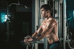 Hübscher Bodybuilder arbeitet Übung in der Turnhalle hochdrücken aus Lizenzfreies Stockfoto