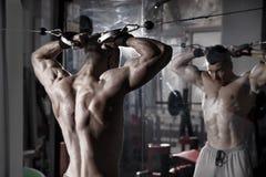 Hübscher Bodybuilder arbeitet Übung in der Turnhalle hochdrücken aus Perfekter muskulöser männlicher Körper Stockbild