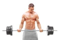 Hübscher Bodybuilder, der mit einem Barbell trainiert Stockbilder