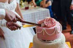 Hübscher Bräutigam der glücklichen Hochzeitspaare Stockbild