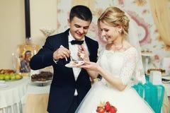Hübscher Bräutigam der glücklichen Hochzeitspaare und blonde Braut, die del schnitzt Stockbilder