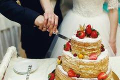 Hübscher Bräutigam der glücklichen Hochzeitspaare und blonde Braut, die del schnitzt Lizenzfreies Stockfoto